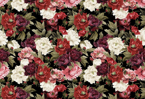 peony, floral mural, flowers, flower pattern, flower repeating mural, red flower mural, large flower mural,