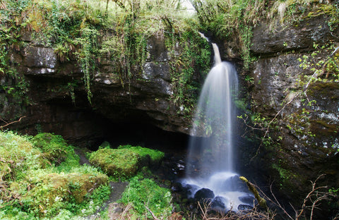 Pollnagollum cave, game of thrones, water fall, cave, woodland, forest, water, Ireland, tranquility, rustic, earthy,