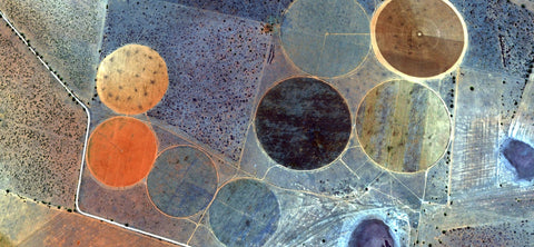 aerial view, round fields, aerial shots, textual murals, circles, circles in abstract, abstract design, modern murals,
