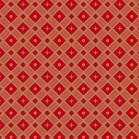 Salim, wallpapers, geometric, small prints, mini prints, block prints, ochre, red, red wallpaper,