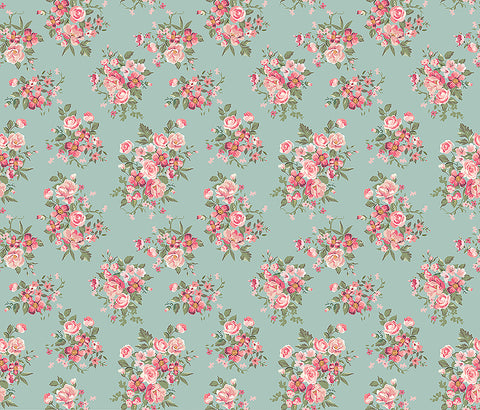 shabby chic, floral, decorative floral, large scale floral, blue, duck egg blue, pink flowers, pretty mural,
