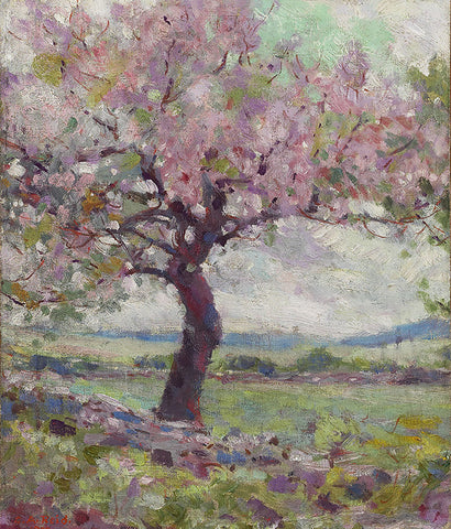 The Pink Tree, famous painting, ago archive, trees, blossom tree, pink blossom, landscape,
