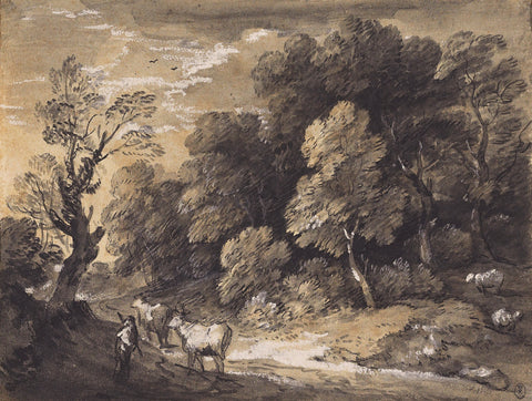 Wooden landscape by Thomas Gainsborough, landscape, drawing mural, sepia mural, black and white,