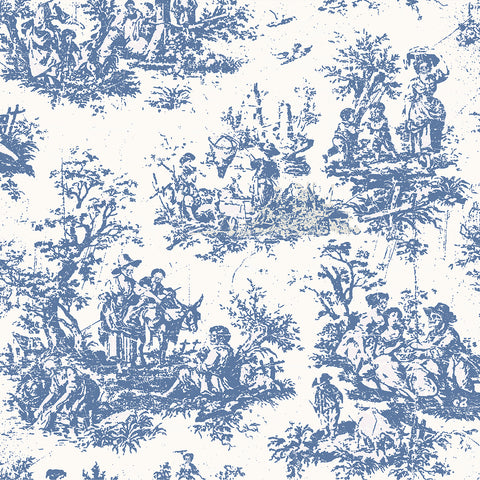 zombies, zombie mural, walking dead, toile, blue and white, toile de jouy, large scale toile, blue,
