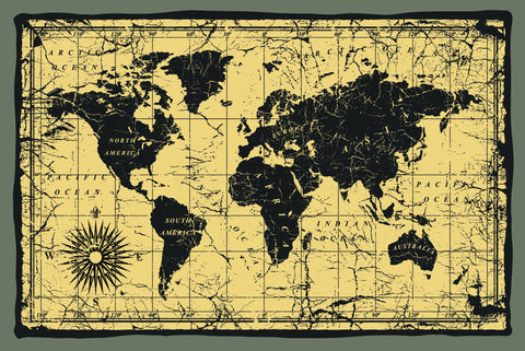 Black map, world map, wall size map, antiqued map, beige and black map,
