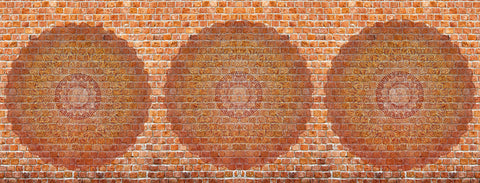 Red brick, mandala, circles, textures, healing mandala, yoga and dance studio images,