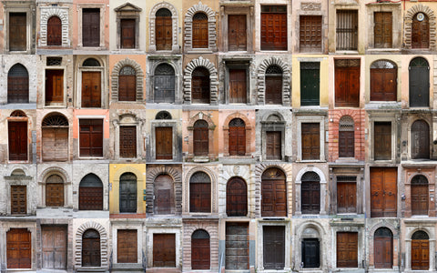 europian doors, door ways, brown doors, old doors, architecture, Spanish doors, door collage, collages, textural, brown and beige,