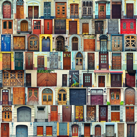 doors, europe, doorways, novelty, rows of doors, collage, door collage,