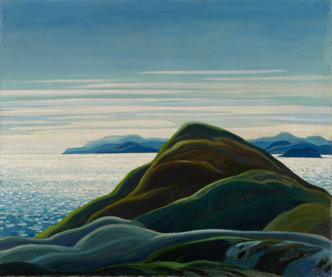 Franklin Carmichael North Shore, Lake Superior, painting, blues, famous painting, ago images,
