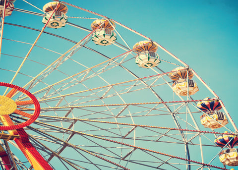 Ferris wheel, vintage, fun fair, retro, fifties, teenager, blue sky,