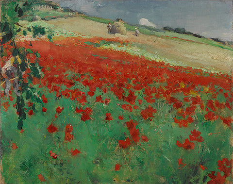 poppies, ago, landscape, landscape with poppies, william blair bruce, painting, large painting, mural, canadian art,