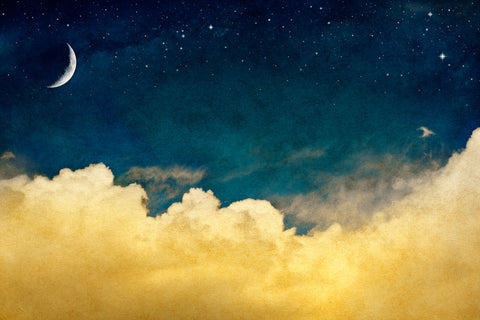 baby's room, sky, moon, stars, magical, blue sky, nursery, moon sky, sleep tight, baby's wallpaper,