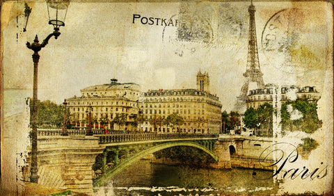 Paris, postcard, nostalgia, retro, vintage, sepia, old photo, old postcard, words, Paris words, bridge, Eiffal Tower,