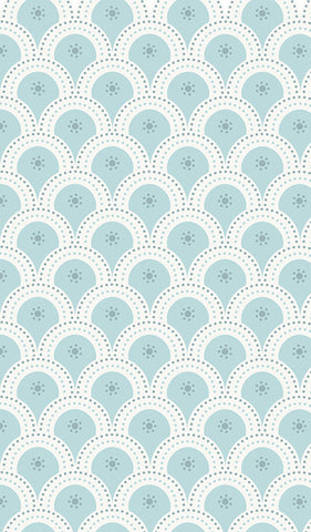 section of blue susa, pretty shell design, kids, hallways, bedrooms, pretty wallpaper,