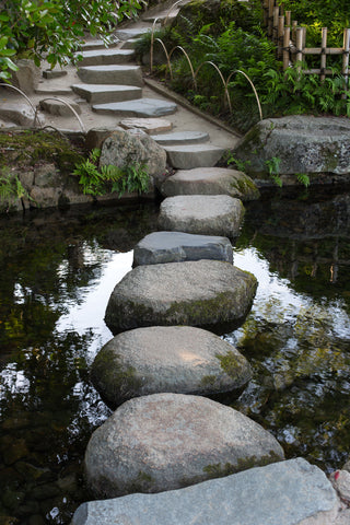 stepping stones, stones, zen, water, calm, walk way path, steps, river, reflections,