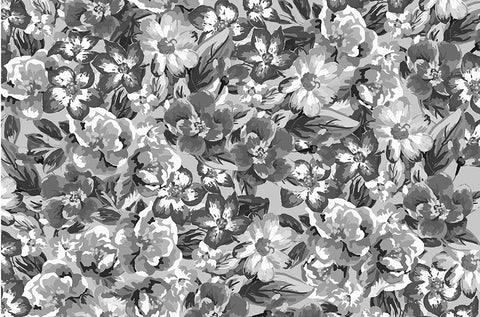 floral, flowers, grays, gray flowers, large scale flowers, large flower, gray and white flowers, monotone, one colour,