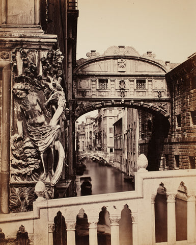 Venice by C. Naya, 19th century, architectural mural, black and white, sepia and black, italian buildings, vintage,