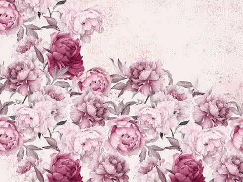 large scale floral,peony,pink flowers pink,flowers, female bedroom, large flowers, bedrooms,