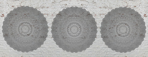 White brick, mandala, yoga room, large circle mandala, textures,