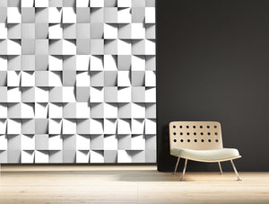 3d cube wallpaper mural by TEB interiors. Printed by Ruth Baker Design.