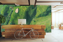wall mural of an aerial view of rice fields in China. photographic printed mural;.