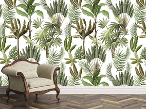 tropical leaf wallpaper with a white ground. Large scale.