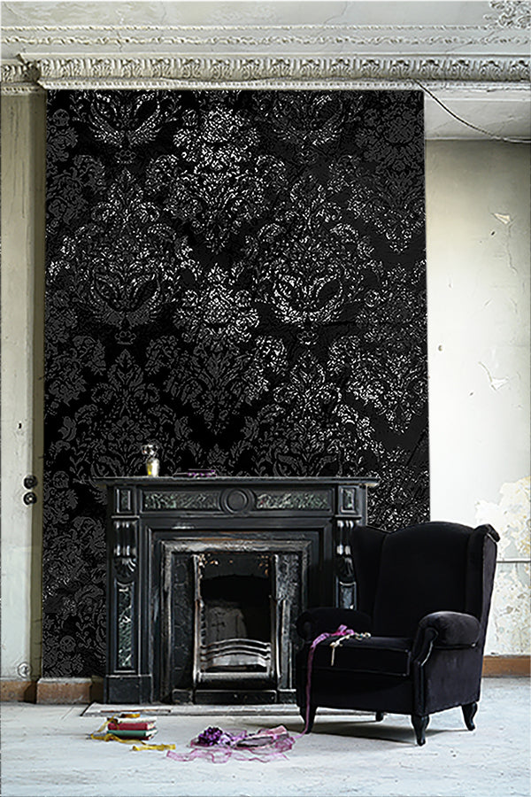 Damask in charcoal/ TEB interiors