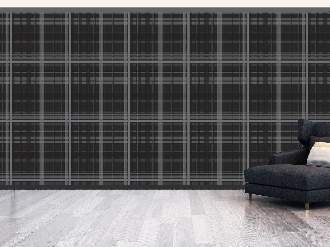 Plaid in charcoal- Large / TEB interiors