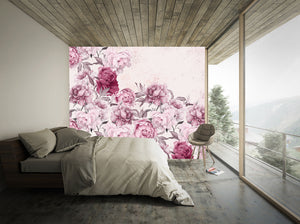 Large scale pink floral mural. Peony flowers. Romantic bedroom.