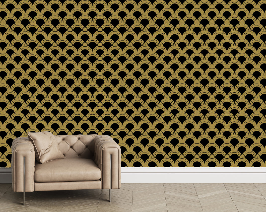 Gold and black large scale modern geometrics.