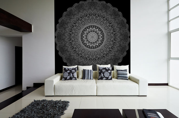 Black and white interior with a healing Mandala. Zen