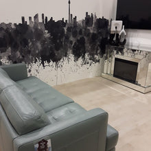 Room set with Toronto sky line in it for Leons furniture store.