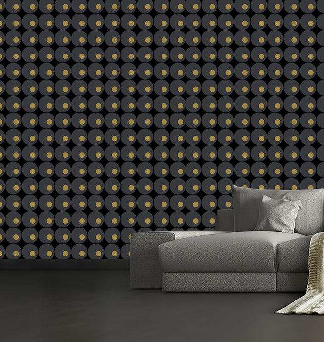 lavello, modern wallpaper with circles in a modern retro style.