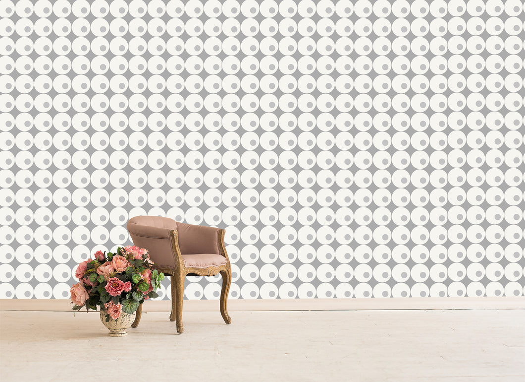 large scale pattern with circles in a modern retro style.