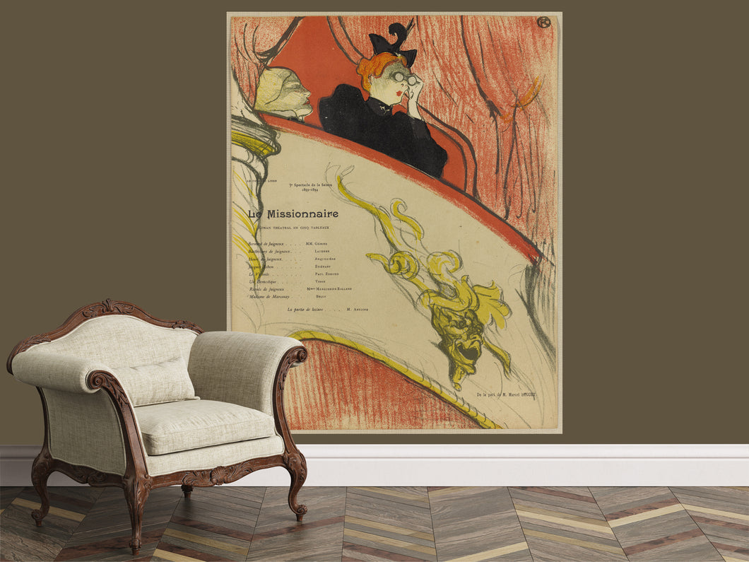Vintage french poster, By Toulouse Lautrec, Large scale retro posters,