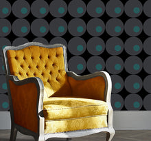 modern wallpaper. Circles called Lavello #3 Black gray and turquoise.