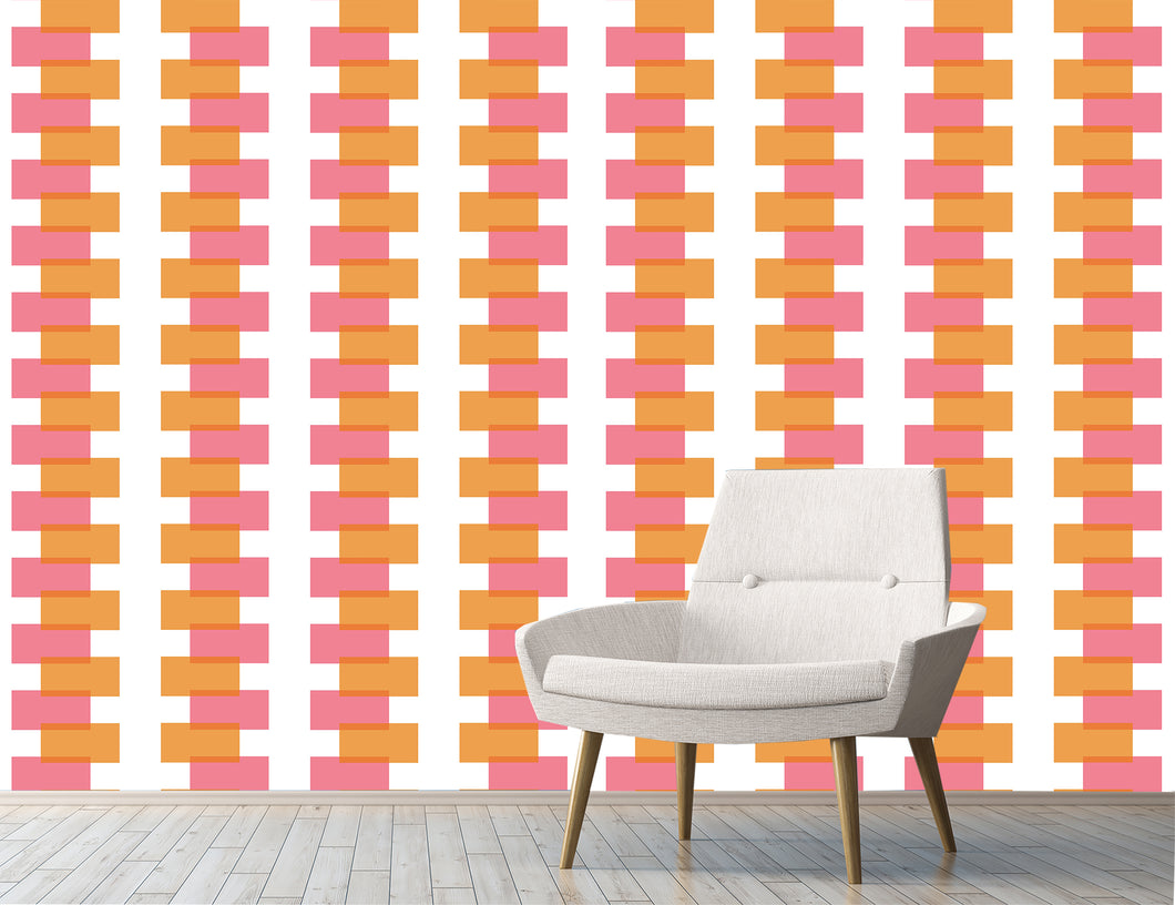 Large-scale modern-vintage wallpaper. Retro inspired wallpaper mural.