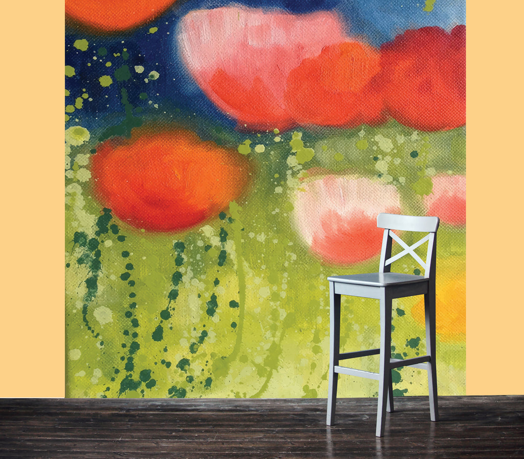 large scale painting or Poppies. Printed large scale as a mural.