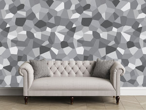 Large scale geometric in grays. Modern artful feature walls.