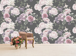 Large scale Cabbage Rose wallpaper mural. Faded retro feel.