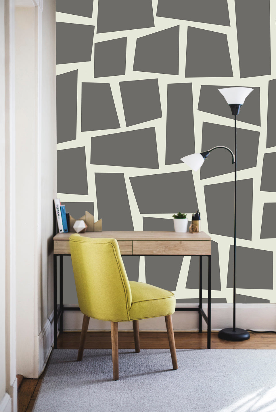 large scale modern geometric wallpaper. Gray and white.