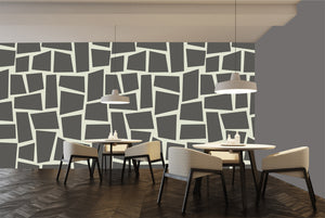 Large scale modern geometric creating an arty restaurant decor.