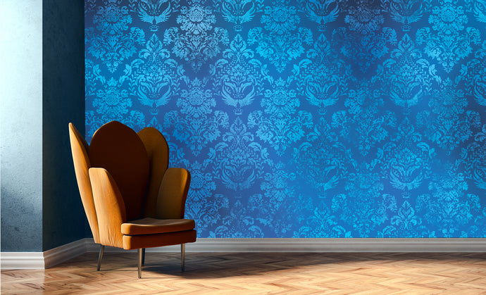 Damask - in electric blue  / TEB interiors