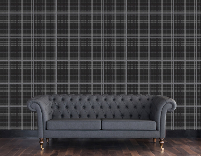 Plaid in charcoal - small / TEB interiors