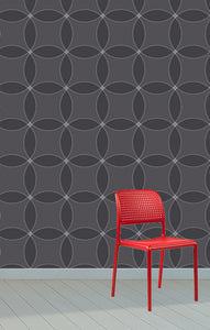 dinning chair, outdoor chair with modern wallpaper.