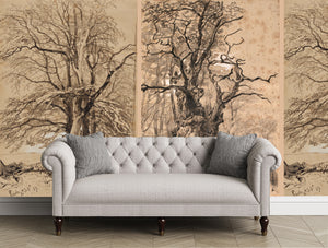 Tree mural, drawn tree mural, wallpaper with trees.