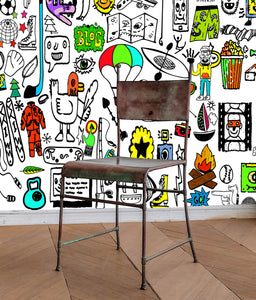 large doodle art wallpaper, cartoon mural, fun teenager wallpaper,