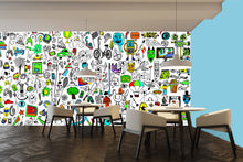 doodle art wallpaper in a modern restaurant,