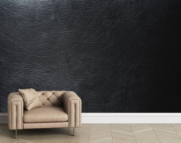Black leather mural. Real leather texture. Leather wallpaper.