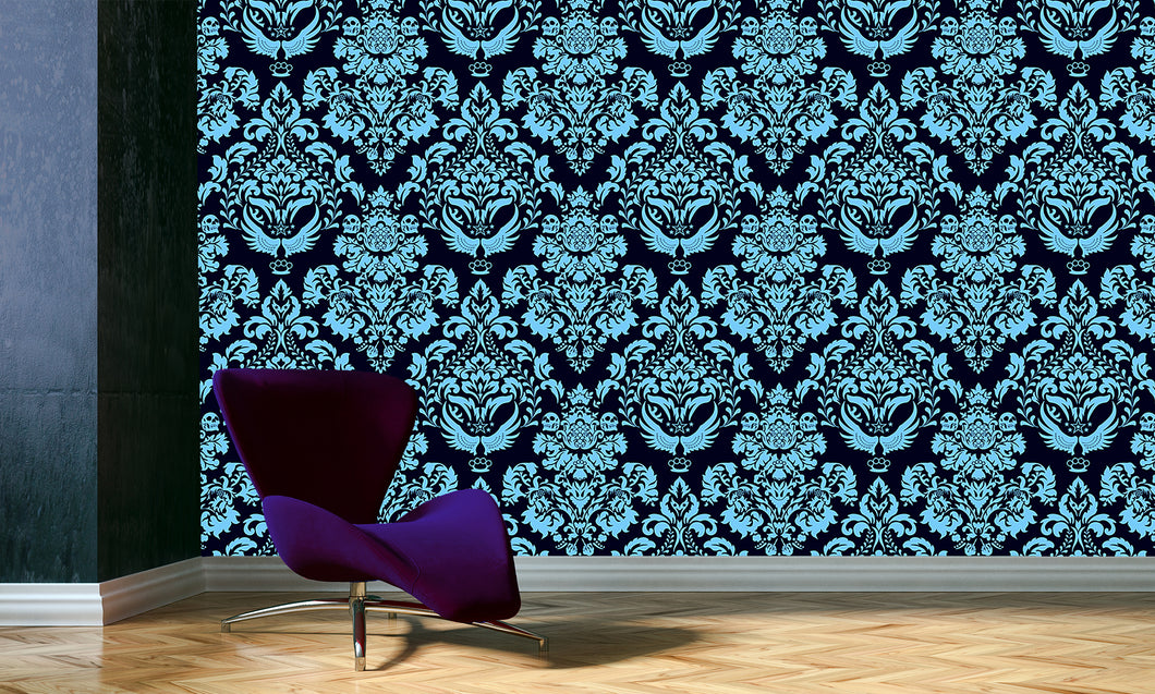 Damask in Navy / TEB interiors